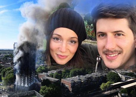 L'incendio a Londra. Nel riquadro Gloria Trevisan e Marco Gottardi © ANSA