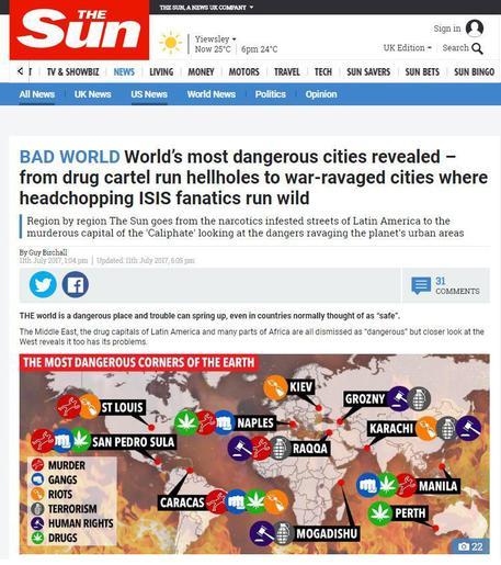 579fa7a95e9f4f Naples among world s 10 most dangerous cities - Sun - English - ANSA.it