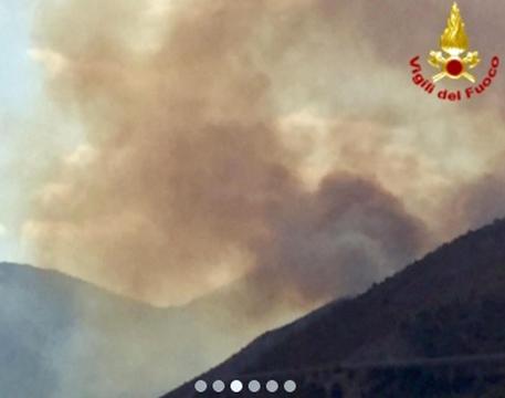 Macerata, l'incendio nel bosco di ieri è ancora acceso