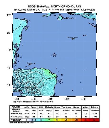 Terremoto nel Mar dei Caraibi