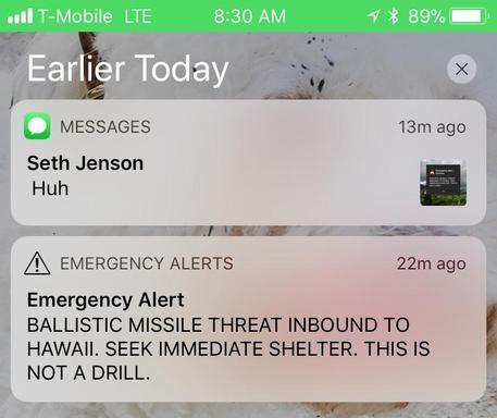 Hawaii, il messaggio inviato dalle autorità in cui si annunciava il missile © AP