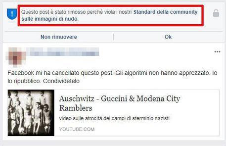Il post su Auschwitz prima rimosso da Facebook, poi ripristinato © ANSA