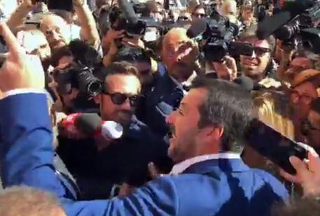 Matteo Salvini a San Lorenzo, a Roma (da diretta Facebook) © ANSA