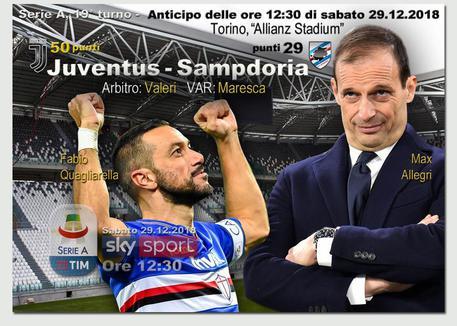 Serie A, si ferma la Sampdoria all'Allianz: la Juventus vince di misura