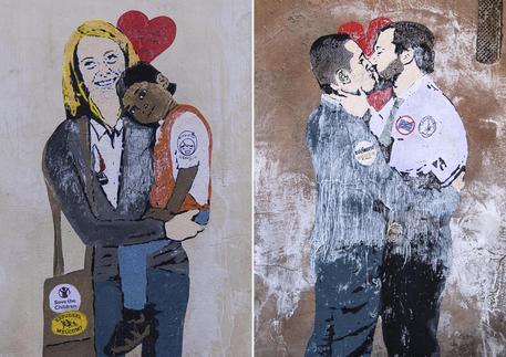 I due murales spuntati a Roma © ANSA