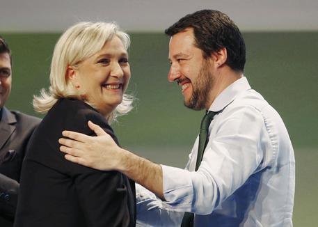 Marine Le Pen con Matteo Salvini (archivio) © ANSA