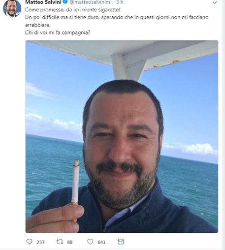 Matteo Salvini e il duro stop al fumo: