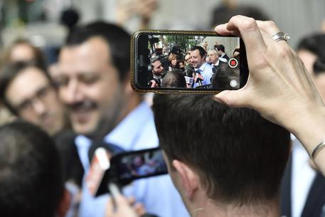 Matteo salvini ieri dopo il primo round al Pirellone © ANSA