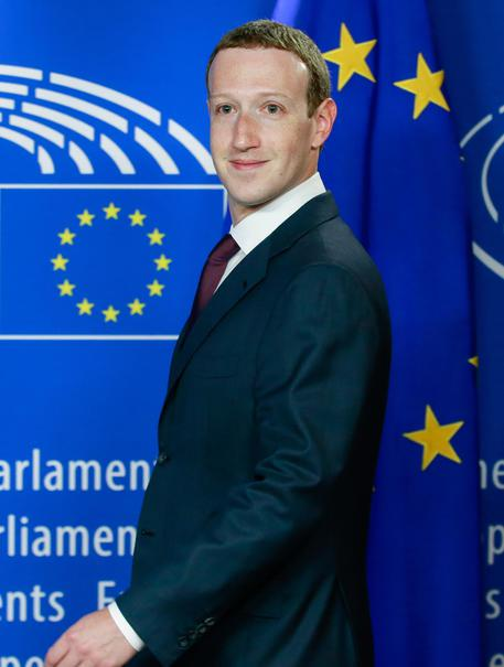 The founder and CEO of Facebook Mark Zuckerberg at the European Parliament © EPA