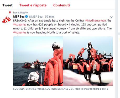 Nave Aquarius: i migranti saranno trasportati a Valencia su navi Italiane