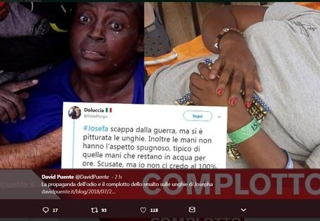 Naufraga con smalto',la fake news virale su Josepha  (Foto da Twitter) © Ansa