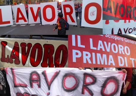 Striscioni in manifestazioni per chiedere Lavoro © ANSA