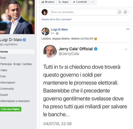 Jerry Calà plaude al governo e Di Maio apprezza