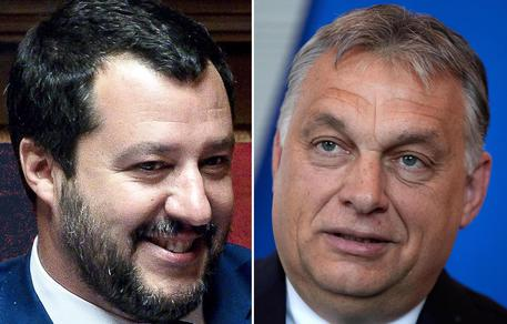 Il ministro dell'Interno e vicepremier Matteo Salvini (S) ed il il primo ministro ungherese Viktor Orban © ANSA