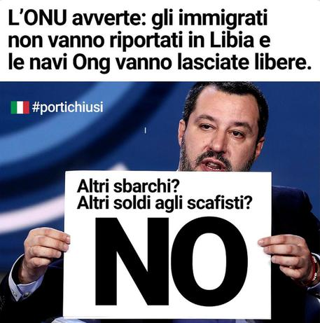 Migranti: Salvini, all'Onu dico no, basta sbarchi © ANSA