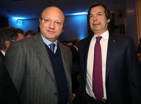 Il presidente di Confindustria Vincenzo Boccia e il consigliere delegato e Ceo Intesa Sanpaolo Carlo Messina