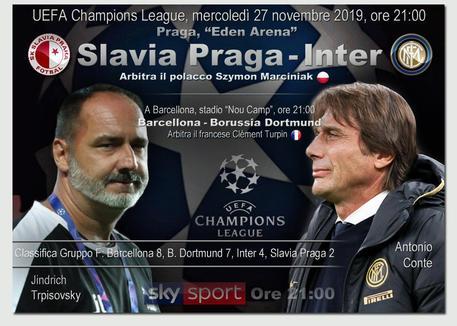 Slavia Praga-Inter stasera in tv: orario, canale, streaming e programma