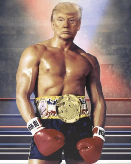 Donald Trump twitta un fotomontaggio in cui appare in versione Rocky Balboa