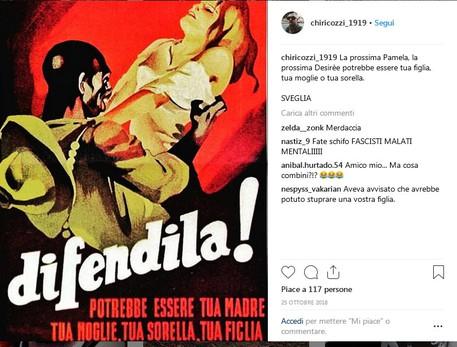 Il post sul profilo Instagram di Francesco Chiricozzi © Ansa