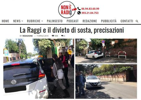 Virginia Raggi, auto in sosta vietata: è polemica sui social