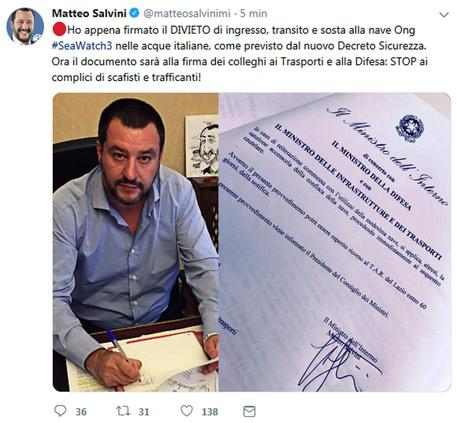 Salvini su Twitter © ANSA
