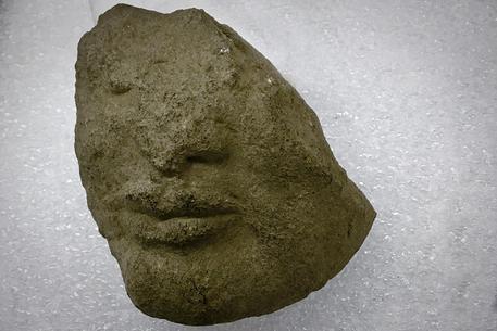 La testa tardo-arcaica in pietra rinvenuta nel santuario di Athena, durante la campagna di scavo 2019 dell'Università di Salerno © ANSA