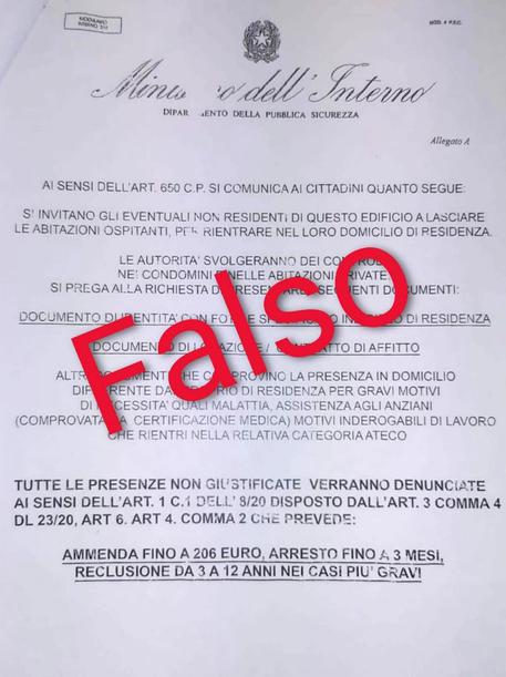 Un falso volantino attribuito al Ministero dell'Interno sulla questione Coronavirus stato diffuso da sconosciuti in numerose città italiane © ANSA
