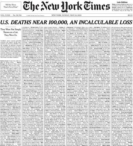 Sul Nyt i nomi di mille morti per Covid