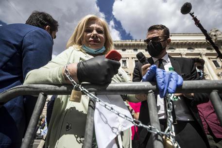 Sandra Milo 'incatenata' davanti Palazzo Chigi, ricevuta da Conte