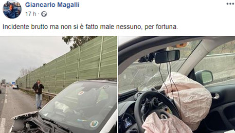 Incidente per Magalli, auto distrutta ma lui sta bene (ANSA)