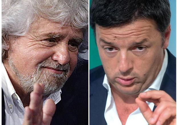 Una combo di Beppe Grillo e Matteo Renzi (ANSA)