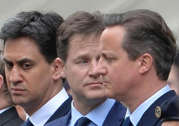 Ed Miliband, Nick Clegge e David Cameron (ANSA)