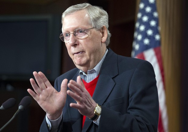 US Senate Majority Leader Republican Mitch McConnell holds year-end news conference (ANSA)