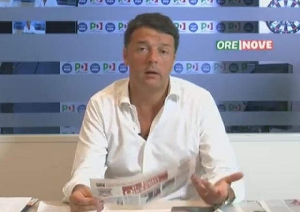 Matteo Renzi alla rassegna stampa del Nazareno © ANSA