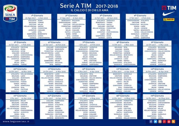 Calcio: Serie A, calendario 2017-2018 © ANSA