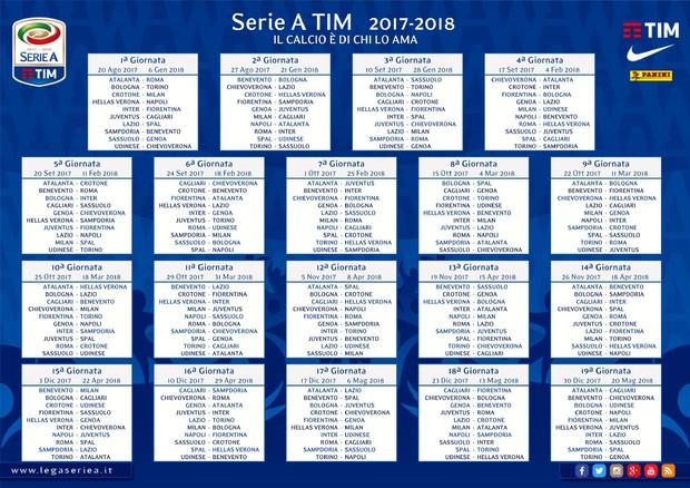 Nuovo Calendario Serie A.Calendario Serie A 2017 18 Tutte Le Giornate Speciali