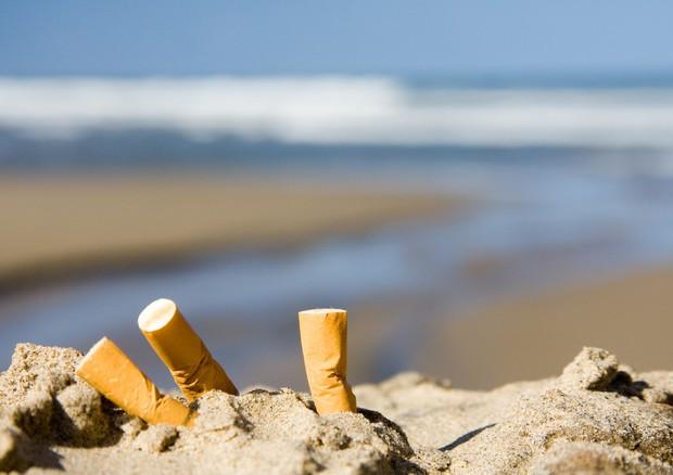 Sigarette su una spiaggia (ANSA)