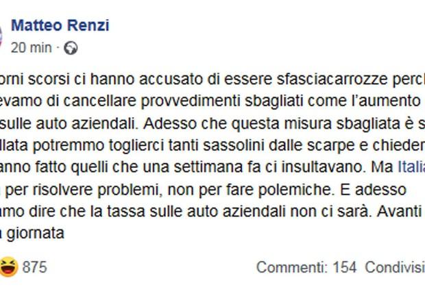 Tassa auto in manovra? Le parole di Renzi