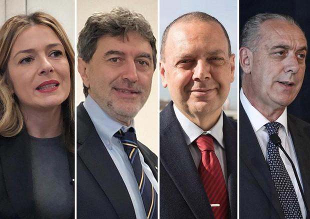 Candidati Regione Abruzzo, da sx: Sara Marcozzi, Marco Marsilio, Stefano Flajani e Giovanni Legnini © ANSA