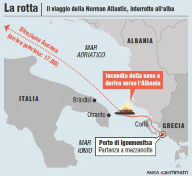 Norman Atlantic, la rotta del traghetto ©