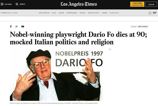 La morte di Dario Fo sui siti internazionali - Primopiano