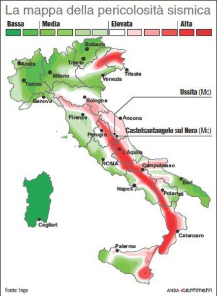 Cartina Italia Rischio Sismico.La Mappa Del Rischio Sismico In Italia Primopiano Ansa It