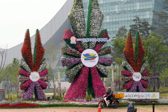 Sculture di fiori davanti centro congressi a goyang corea for Sculture di fiori