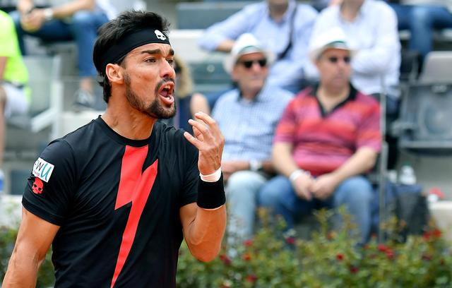 ITALIAN OPEN TENNIS TOURNAMENT IN ROME - FABIO FOGNINI OF ITALY REACTS DURING HIS MEN'S SINGLES THIRD ROUND MATCH AGAINST PETER GOJOWCZYK OF GERMANY AT THE ITALIAN OPEN TENNIS TOURNAMENT IN ROME, ITALY, 17 MAY 2018. ANSA/ETTORE FERRARI © ANSA