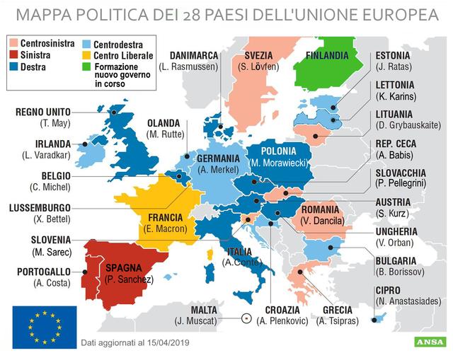 Cartina Europa Politica Aggiornata.Europee 2019 La Mappa Politica Dei Governi In Ue Europarlamento 2019 Ansa It