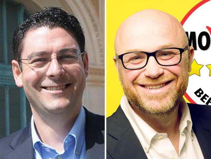 I due candidati sindaco a Livorno, Ruggeri (Pd) e Nogarin (M5S)