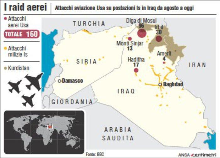 Mappa degli attacchi aerei Usa da agosto a oggi a postazioni dell'Isis in Iraq