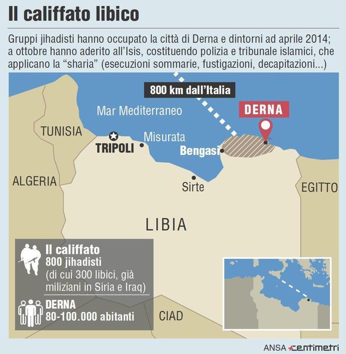 La cartina del califfato a Derna