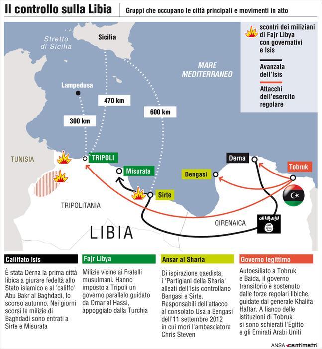 Libia Italia Cartina.Libia La Mappa Delle Milizie Mondo Ansa It