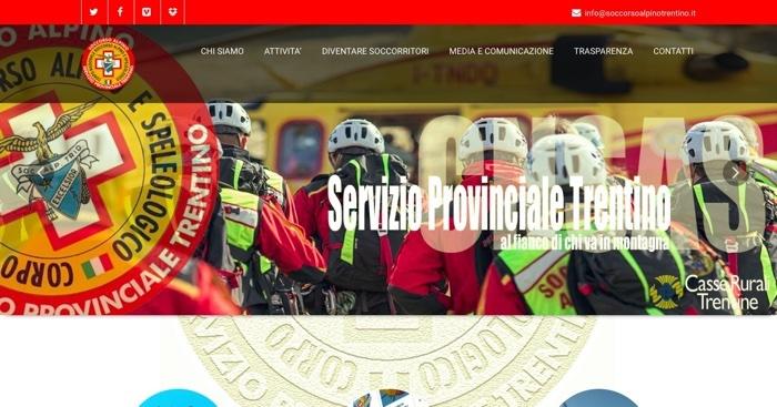 Soccorso alpino: sito web rinnovato per quello del Trentino